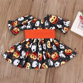 Halloween-Costume-Outfits-Toddler-Infant-Baby-Girl-Pumpkin-Ghost-Print-Belt-Dresses-0-1