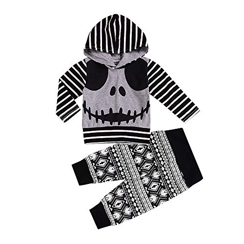 Halloween Outfits Set Newborn Infant Long Sleeve Hoodie Tops Skull Striped Pants