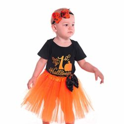 Halloween-Pumpkin-Costume-Jumpsuit-Toddler-Romper-Baby-Girls-Short-Sleeve-Skirt-0-1