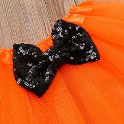 Halloween-Pumpkin-Costume-Jumpsuit-Toddler-Romper-Baby-Girls-Short-Sleeve-Skirt-0-5
