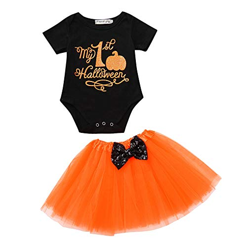 Halloween Pumpkin Costume Jumpsuit Toddler Romper Baby Girls Short Sleeve Skirt