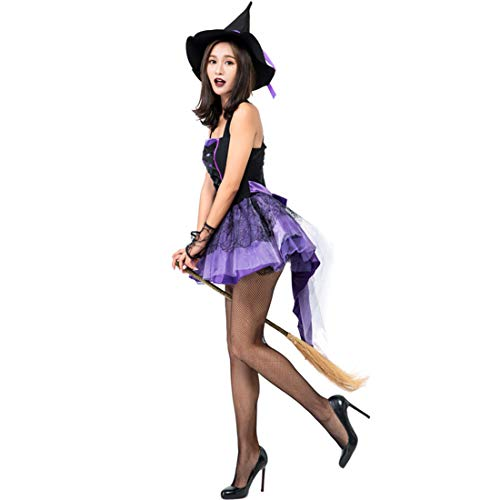 Halloween Purple Swallowtail Witch Tutu Sling Sleeveless Sexy Witch Game Costume