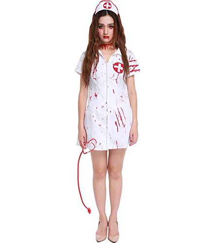 Halloween Scary Nurse Costume Women Deluxe Bloody Ghost Vampire Cosplay Dress Up