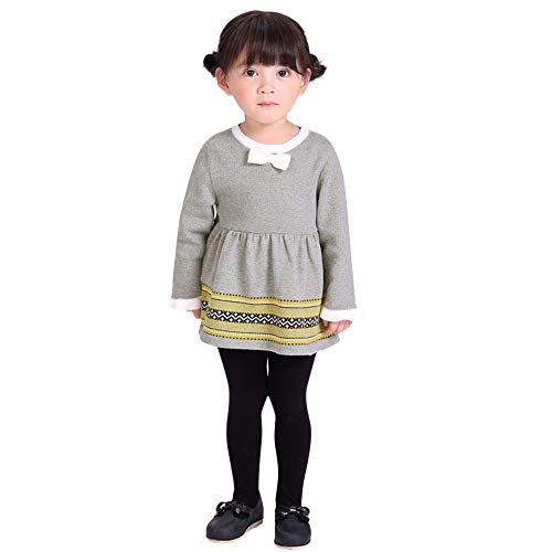 Hatoys Dress Baby Girl Knitted Sweater Dress Winter Pullovers Crochet Dress Tops Clothes