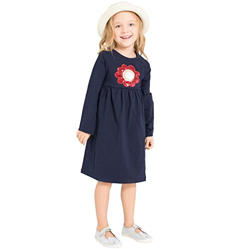 Hatoys Dress Kids Baby Girls Flower Casual Cotton Long Sleeves Printed Dresses