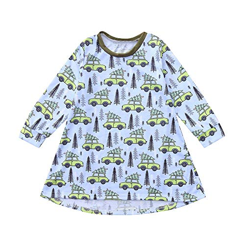 Hatoys Dress Toddler Baby Girls Cartoon Forest Trees Cars Print Dress Outfits Clothing