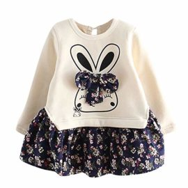 Hatoys-Dresses-Kids-Baby-Girl-Cartoon-Rabbit-Bunny-Floral-Princess-Party-Dress-Clothes-0