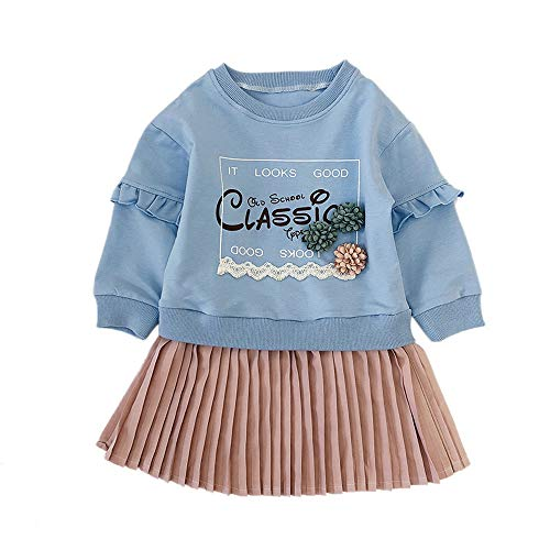 Hatoys Dresses Kids Baby Girl Letter Princess Pleated Dress Sweatshirt Outfits Clothes