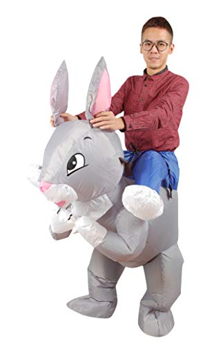 Inflatable Rabbit Costume, Unisex Adults Halloween Riding Animal Cosplay Blow up Costume
