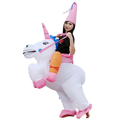 Inflatable Unicorn Rider Costume Halloween Suit Cosplay Funny Fancy Blow up