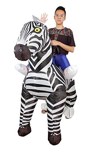Inflatable Zebra Costume, Unisex Adults Halloween Riding Animal Cosplay Blow up Costume