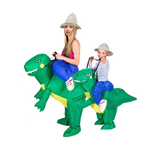 JALYCOS Inflatable Dinosaur Costumes,Halloween Ride Costumes,Unisex Blow Up T-Rex Dino Suit for Auldt/Kid