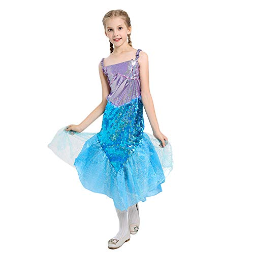 LOLANTA Little Girls Halloween Mermaid Costume Princess Sequins Dress with Tail