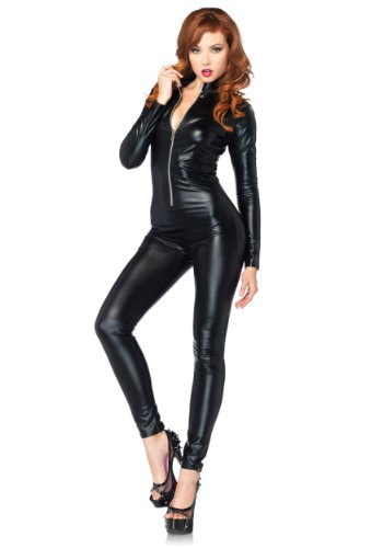 Leg Avenue Women's Wet Look Zipper Front Cat Suit, Black