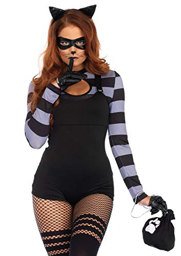 4 PC. Ladies Cat Burglar Romper Costume Set