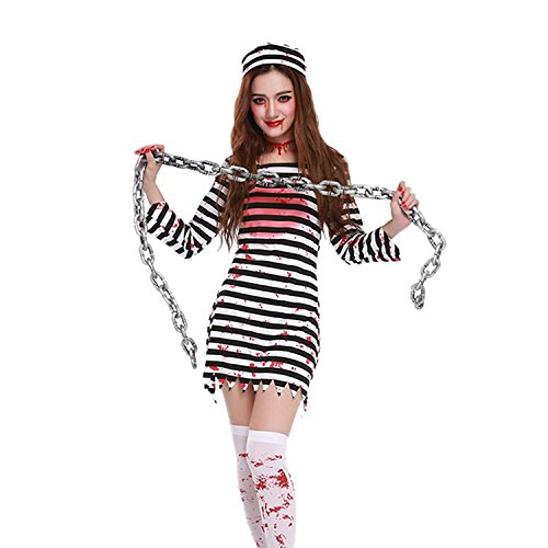 Lisli Halloween Horror Zombie Bloody Prisoner Costume Cosplay Party Fancy Dress