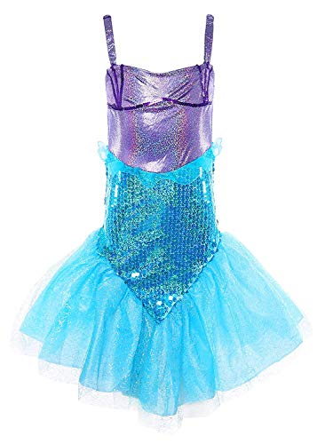 MOREMOO Little Girl Sequins Princess Mermaid Costume Dress with Tail