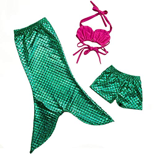 MOREMOO Little Girls 3pcs Mermaid Bathing Swimsuit Princess Costume Bikini