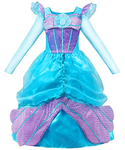MOREMOO Long Sleeve Little Girl's Mermaid Costume Princess Dress Up