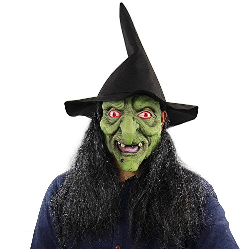 MacRoog Green Head Witch Halloween Masks Costume Adults Scary Funny Mask Men Women Halloween Props