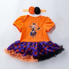 Newborn-Jumpsuit-3M-18M-Baby-Short-Sleeve-Halloween-Pumpkin-Bow-Party-Romper-Dress-0-0
