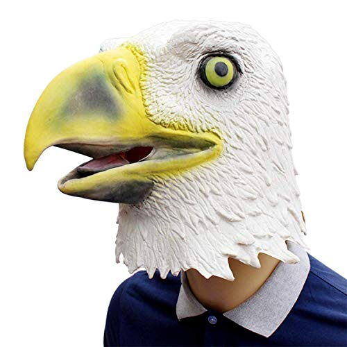 Novelty Funny Halloween Cosplay Party Costume Latex Animal Head MaskFlying Eagle White