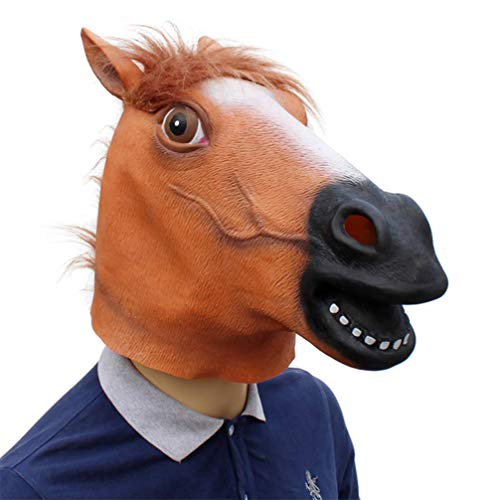 Novelty Funny Halloween Cosplay Party Costume Latex Animal Head MaskHorse-Head