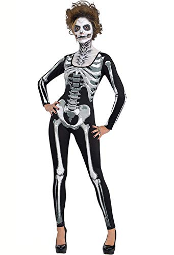 Onancehim Women's 3D Print Skull Skeleton Bodysuits Halloween Costume, Cosplay Stretch Skinny Jumpsuit Romper