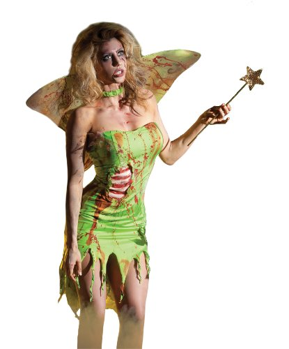 Party King Women's Pixie Zombie 3 Piece Costume Set with Wings