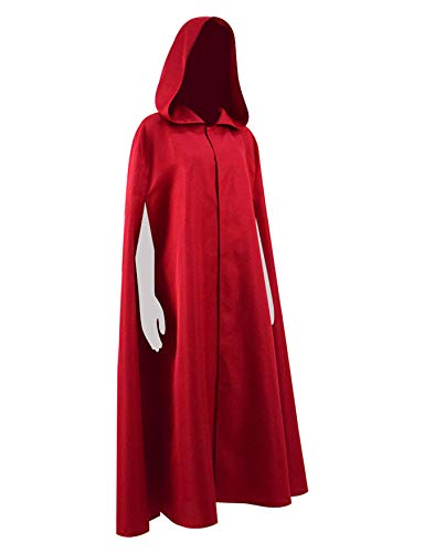 Qi Pao Handmaid Womens Cosplay Red Cape Halloween Party Cloak with Hood Costume