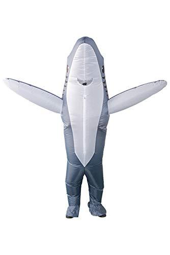 Qshine Inflatable Shark Cosplay Costume Halloween Funny Cartoon Animal Blow up Suit Adult and Child