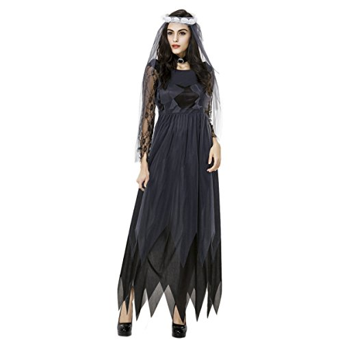 Quesera Women's Corpse Bride Costume with Veil Long Gothic Halloween Scary Outfits