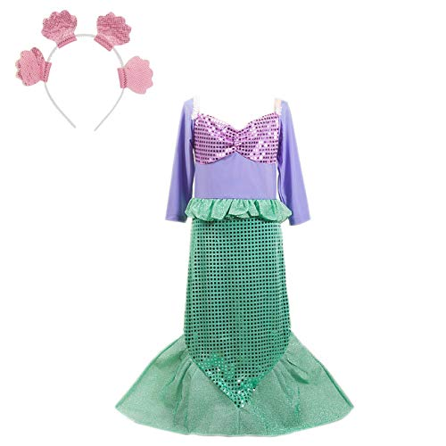 ShiyiUP Little Girls Sequins Mermaid Costume with Hair Hoop