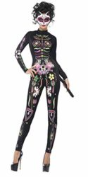 Smiffys-Womens-Sugar-Skull-Cat-Costume-Printed-Bodysuit-Day-of-the-Dead-Halloween-Size-2-4-43735-0