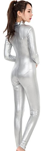 Speerie-Womens-Shiny-Metallic-Lycar-Spandex-Zip-up-Catsuit-Unitard-0-1
