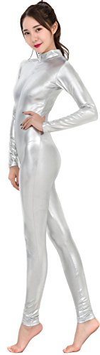 Speerie Womens Shiny Metallic Lycar Spandex Zip up Catsuit Unitard