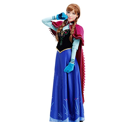 Starkma 5pc/lot Anna Princess Cosplay Dress Halloween Costumes Embroidery for Adult