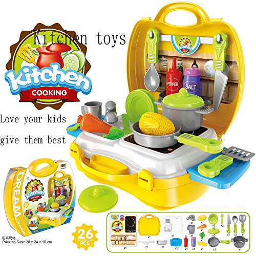SunRise 26 PCS Set of Pretend Kitchen Food Playset for Kids and 21 PCS Makeup for Girls Pretend Play Dress up Toy Kit