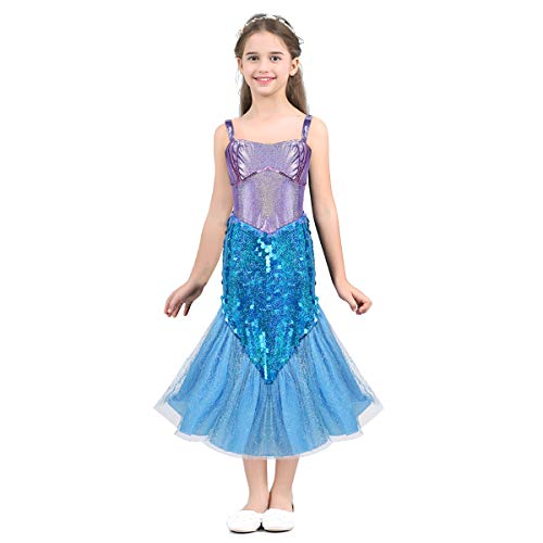 Alvivi Liitle Girls Sequin Mermaid Costume Dress with Tail Halloween Princess Dress up