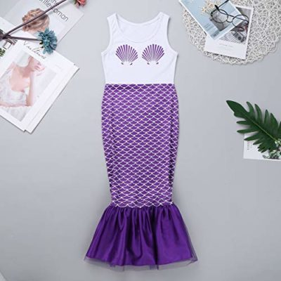 TiaoBug-Kids-Girls-One-Piece-Shell-Mermaid-Costume-Long-Dress-For-Halloween-Cosplay-Party-0