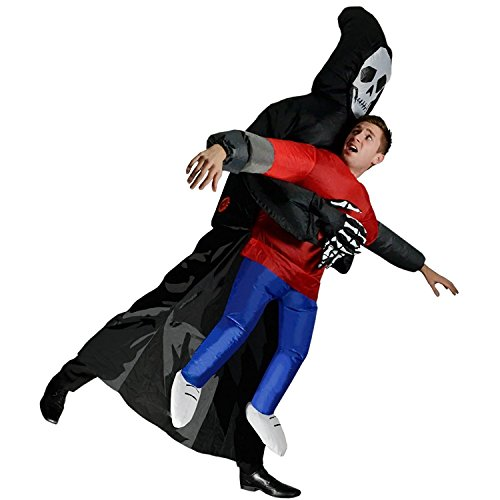 Wecloth Inflatable Grim Reaper Halloween Scary Skeleton Fancy Dress Cosplay Costume
