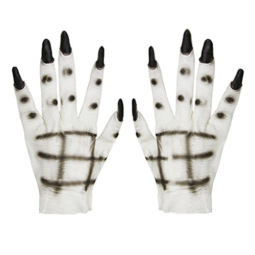 Women Halloween Costume Props Latex Ghost Gloves Horror Creepy White Devil Hands