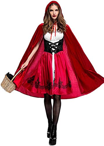 Women Halloween Riding Hood Costume Set, Red Cape and Dress Cosplay Party