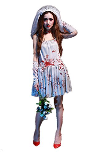 Women's Dead Zombie Bloody Costume White Ghostly Dress