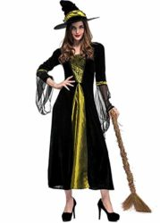 Womens-Halloween-Black-Wicked-Witch-Costume-Classic-Dress-with-Cap-0-0
