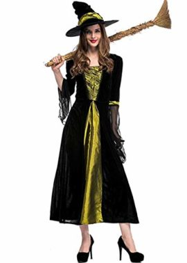 Womens-Halloween-Black-Wicked-Witch-Costume-Classic-Dress-with-Cap-0-1