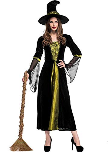 Women's Halloween Black Wicked Witch Costume Classic Dress with Cap