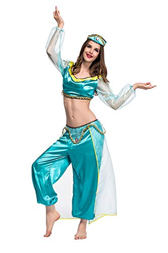 Womens-Halloween-Magic-Lamp-Arab-Cosplay-Costume-Green-Game-Anime-Dress-Fancy-Role-Up-0-1