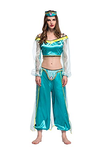 Womens-Halloween-Magic-Lamp-Arab-Cosplay-Costume-Green-Game-Anime-Dress-Fancy-Role-Up-0