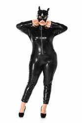 Womens-Halloween-Night-Club-Masquerade-Black-Catwoman-Jumpsuit-Costume-PU-Plus-Size-Set-0-1